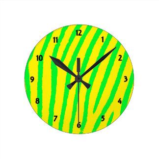 Zebra Print (Yellow & Green) Round Clock