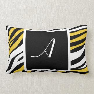 Zebra Print Yellow Mix Monogram Lumbar Pillow