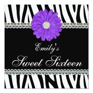 Zebra Purple Daisy Gems Sweet 16 Birthday Card
