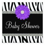 "Zebra Purple Daisy Printed Gems Baby Shower 5.25"" Square Invitation Card"