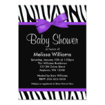 "Zebra Purple Printed Bow Baby Shower 5"" X 7"" Invitation Card"