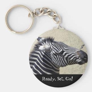 Zebra racing keychain