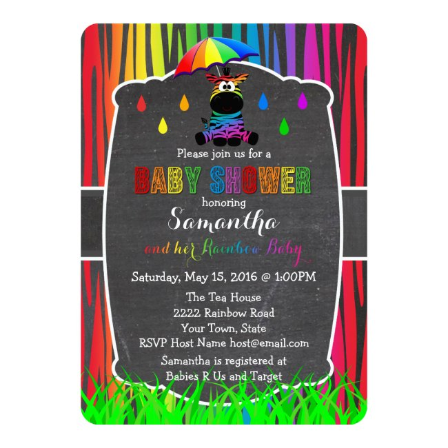 Rainbow Zebra Rainbow Baby Shower Invitation