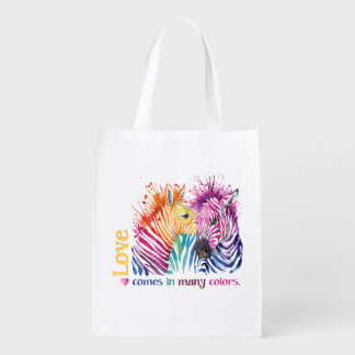 Zebra Rainbow Grocery Bag