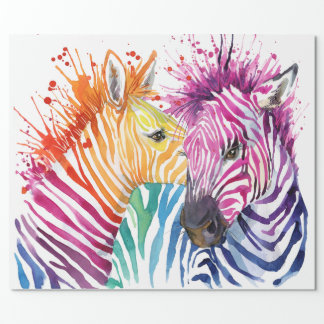 Zebra Rainbow Wrapping Paper