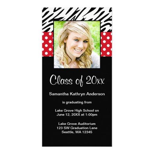 Zebra Red Polka Dot Graduation Announcement Photo Cards
