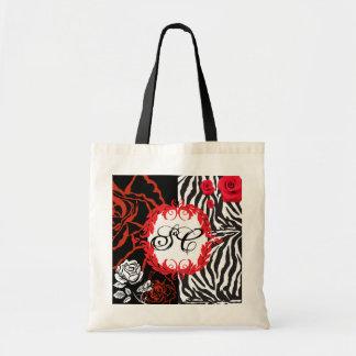 Zebra & Red Roses, Customizable Tote