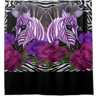 Zebra  Rose BathRoom Shower Curtain