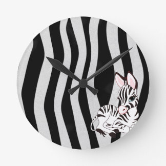 Zebra Round Clock