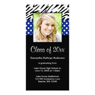 Zebra Royal Blue Polka Dot Graduation Announcement Photo Card Template