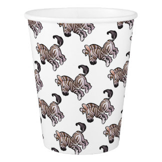 Zebra Safari Animals Cartoon Character Paper Cup