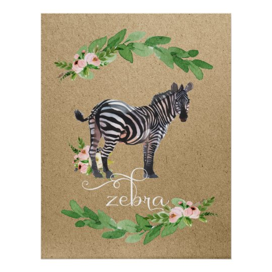Zebra Safari Jungle Nursery Art Poster