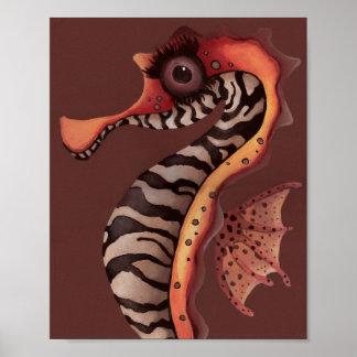 Zebra Seahorse Poster