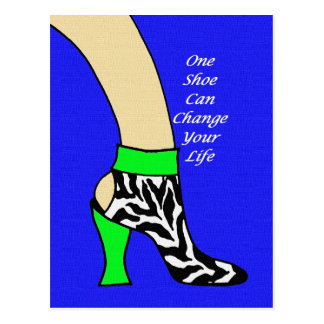 Zebra Shoe Art Postcard