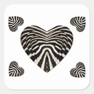 Zebra skin hearts square sticker