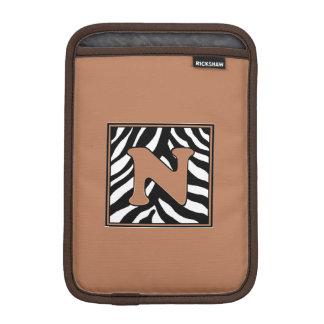 Zebra Skin N Monogrammed iPad Mini Sleeve