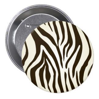 Zebra skin print stripes pattern 3 inch round button