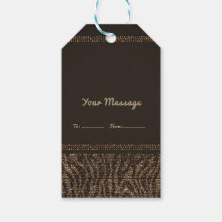 Zebra Sparkle Brown Gold Glam Chic Party Favor Gift Tags