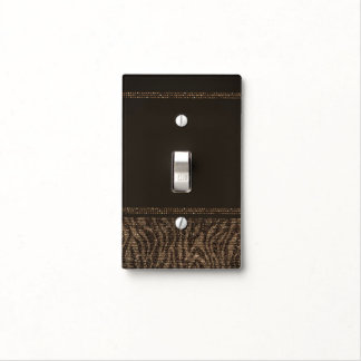Zebra Sparkle Brown Gold Glam Safari Chic Glamour Light Switch Cover