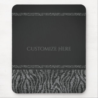 Zebra Sparkle Sequins Glam Chic Modern Glamour Mouse Pad