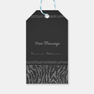 Zebra Sparkle Silver Black Glam Chic Party Favor Gift Tags