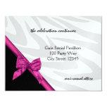 "Zebra Stripe and  Pink Ribbon/ Reception Card 4.25"" X 5.5"" Invitation Card"