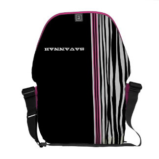 Zebra Stripe Black Pink Racing Stripe Messenger Commuter Bag