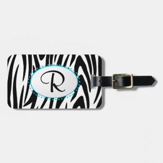 Zebra Stripe Monogram Luggage Tag