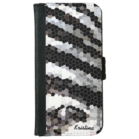 Zebra Stripe Mosaic with Name iPhone 6 Wallet Case