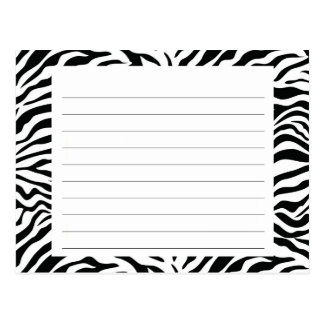 Zebra Stripe Recipe Card