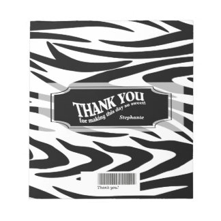 Zebra Striped Candy Bar Wrap Notepad