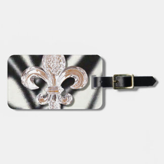 Zebra Striped Fleur De Lis Crystal New Orleans Luggage Tag