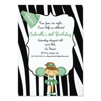 Zebra Striped Green Cheerleader Birthday Invite
