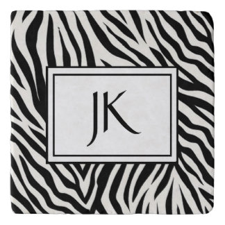 Zebra Striped Modern Monogrammed Coaster