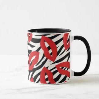 Zebra Striped Pattern and Red Kiss Lips Coffee Mug