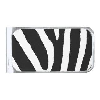 ZEBRA STRIPES (a Black & White design) Silver Finish Money Clip
