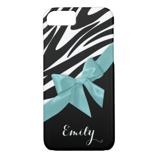 Zebra Stripes and Aqua Bow with Name iPhone 7 Case