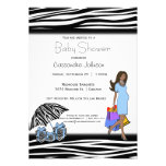 Zebra Stripes And Blue African American Mommy Personalized Invite