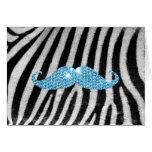 Zebra Stripes And Blue Bling Moustache