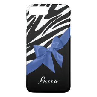 Zebra Stripes and Blue Bow with Name iPhone 8 Plus/7 Plus Case