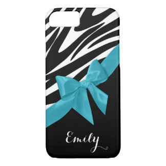 Zebra Stripes and Peacock Blue Bow with Name iPhone 7 Case