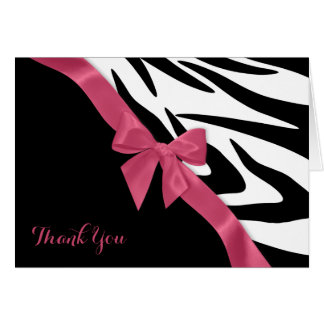 Zebra Stripes and Pink Ribbon Thank You Note Greeting Cards