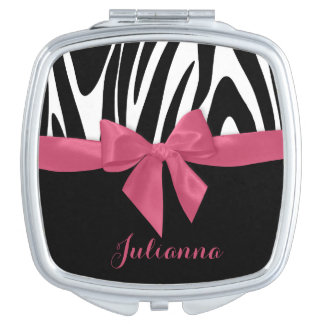 Zebra Stripes and Pink Ribbon with Name Travel Mirrors