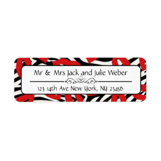Zebra Stripes and Red Lips Return Address Stickers