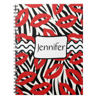 Zebra Stripes and Red Lipstick Kisses  Notebook