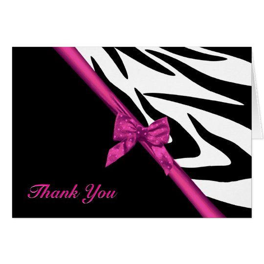 Zebra Stripes and Ribbon Thank You Note Note Card