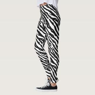 Zebra Stripes Black White Animal Print Pattern Leggings