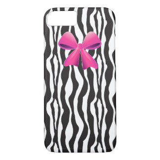 Zebra Stripes, black white, Pink Bow iPhone 7 Case