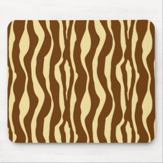 Zebra stripes - Chocolate Brown and Camel Tan Mouse Pad