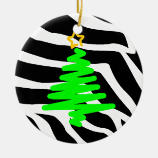 Zebra Stripes Christmas Postage Tree Green Ceramic Ornament